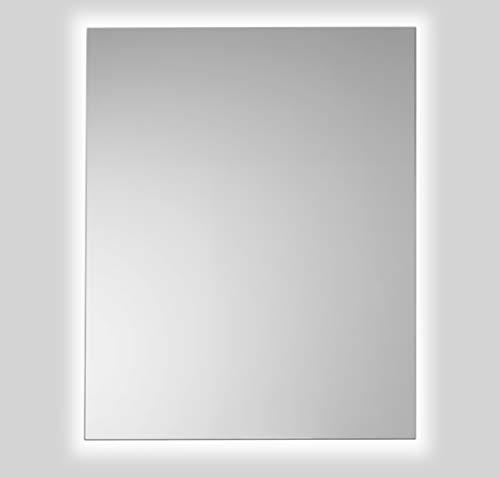 Espejo de Baño Lux de 80x100 Vertical con Luz Led Blanca Perimetral de 5700K Decorativa Indirecta Incorporada sobre el Marco Interior y Lámina Antivaho de Fácil Instalación