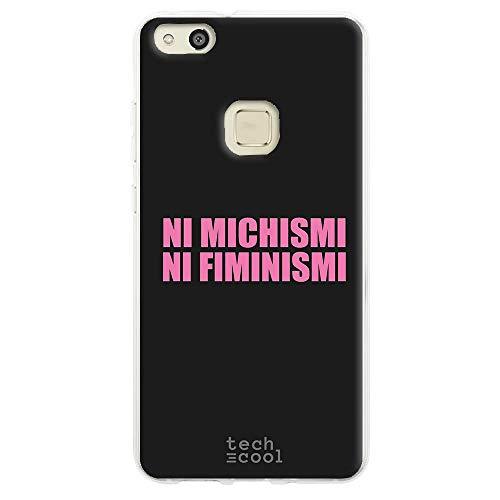 Funnytech Funda Silicona para Huawei P10 Lite [Gel Silicona Flexible, Diseño Exclusivo] Frase Meme Feminismo machismo Humor Fondo Negro