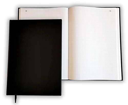 Registre folioté numéroté Vertical 30 x 21,5 cm - 100 pages - Couverture noire - Quadrillé - Petits carreaux - Qualité Premium