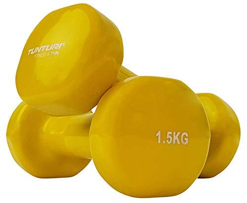 Tunturi 14TUSFU150 Mancuernas, Unisex Adulto, Amarillo, 1.5 kg