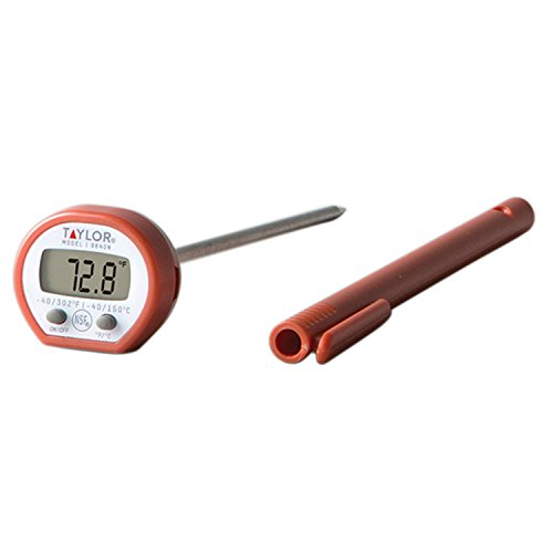 Taylor Precision Products Instant Read Digital Meat Food Grill BBQ Cooking Kitchen Thermometer, Comes with Pocket Sleeve Clip, Red