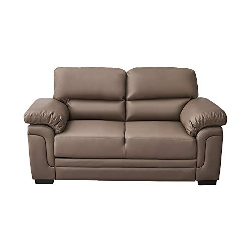 Panana Italian Style Faux Leather Sofa 2 Seater Corner Sofa Modern Sofa Settee Couch Seat Padded Sofa for Living Room Office Lounge (Brown - 2 Seater)