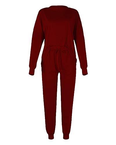 Conjunto Deporte Mujer, Chándal Completo 2 Piezas, Camiseta de Manga Larga y Cuello Redondo y Pantalón Deportivo con Cordón, Traje Causal Suelto de Color Sólido Vino Rojo XL