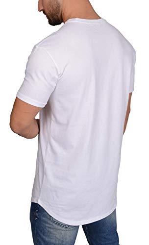 QULAXITY XVI Herren Shirt Oversize Basic Long Fit (M, Weiß)