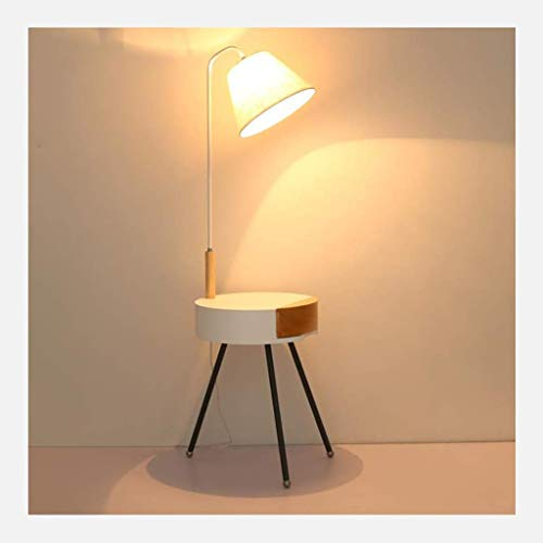 Aocean Lámpara de pie de lámpara Alta, lámpara de pie clásica con Pantalla de Tela y cajón y Puerto de Carga USB Lámpara de Poste Alto para Sala de Estar lámpara de pie