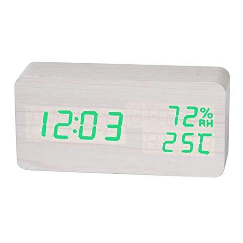 FPRW elektronische wekker van hout, LED-display, klassieke wekker, multifunctioneel, voor de tafel, smartwatch voor woonkamer op het nachtkastje, wit groen