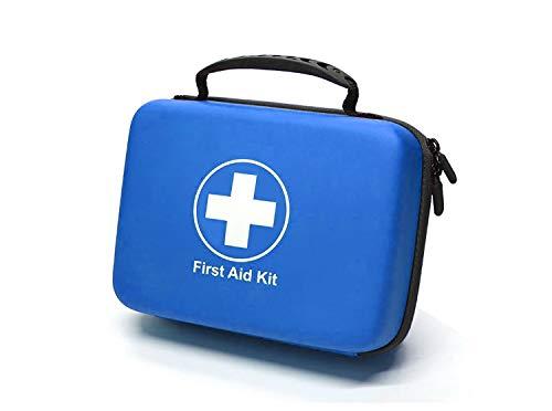 SHBC Kit de Primeros Auxilios (228 Piezas) Compacto Diseñado para Cuidados Familiares de Emergencia. Carcasa de EVA a Prueba de Agua. Esta Bolsa es Ideal para el Coche, Barco, Camping, Oficina. Azul