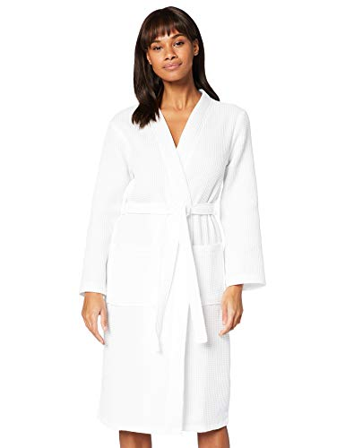Amazon-Marke: Iris & Lilly Damen Bademantel mit 3/4-Länge und Waffelstruktur, Weiß (White), S, Label: S