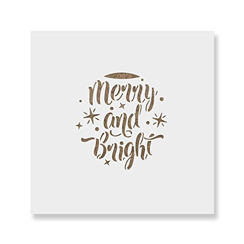 Merry and Bright Christmas Ornament Stencil - Reusable Stencils for Painting - Create DIY Merry and Bright Christmas Ornament Home Decor