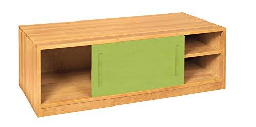 BioKinder Sideboard Bettkasten Kommode mit Schiebetür Lina aus Massivholz Erle und Kiefer 120 x 55 x 40 cm, Front grün lasiert