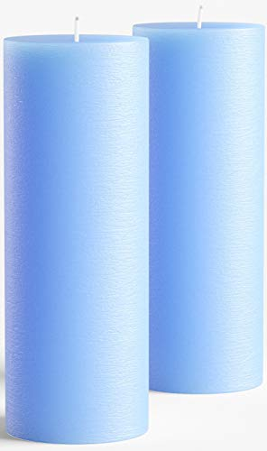 Melt Candle Company 3' x 8' Light Blue Pillar Candle Set of 2 Unscented Handpoured for Weddings, Home Decoration, Relaxation, Spa, Smokeless Cotton Wick