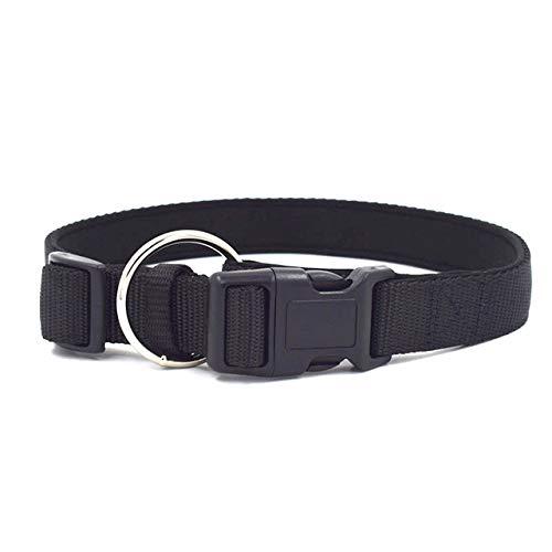 TIERLICH Collar para perros de nailon, acolchado para perros pequeños, medianos y grandes (S, 23-34 cm, negro)