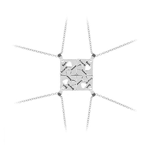 Liadance 4PCS / Set Mejor Amigo para Siempre Collar Kit BFF Collar Amistad Rompecabezas de Costura del Collar de la joyería Regalo para los Amigos Collar Hermoso