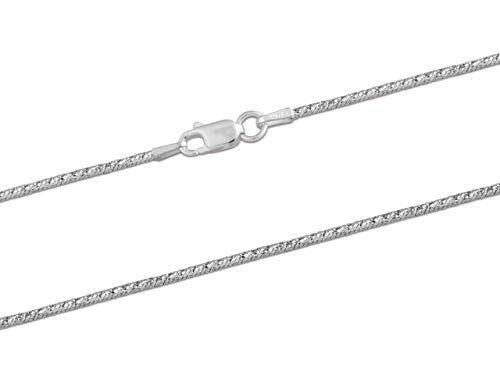 925 Sterling Silver Necklace Chain, 1.5mm Diamond Cut Fancy Snake Jewellery Chain, 16'/40cm Length