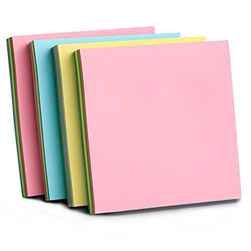Note Adesive Blocchetto a Forma di piazza Foglietti Adesivi Riposizionabili ,400 Fogli, 76 mm x 76 mm,4 colori Note Autoadesive Memo(blu, giallo, verde, rosa)