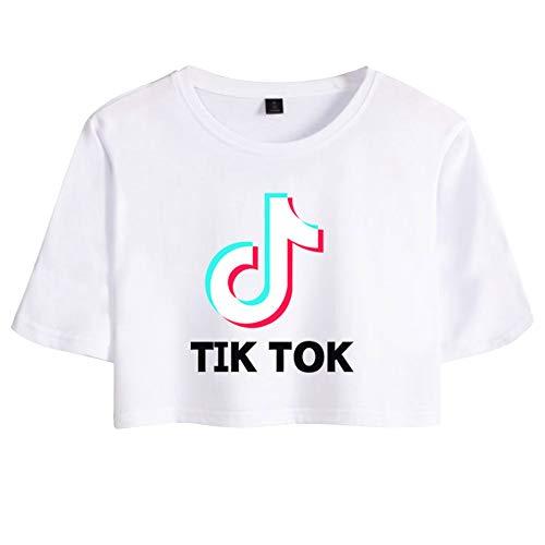 Crop Top para Mujer Camiseta Manga Corta TIK TOK Impresión Camiseta T-Shirt Corta Blusa Suelta Túnica Hip Hop tee Camiseta Básica Adolescentes C00605TX132L