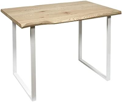HOME DECO FACTORY HD7118 Table de Repas Salle à Manger Salon, Métal, Blanc-Bois, 110x75,5x75 cm