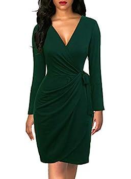 Berydress Women s Classic V-Neck Long Sleeve Casual Party Work Belted Knee-Length Sheath Faux Black Wrap Dress  L 6090-Dark Green