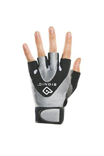 Bionic Women's StableGrip 1/2 Finger Fitness Gloves w/ NaturalFit Technology, Black (PAIR), Medium, Black/Silver
