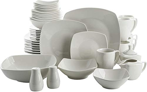 Gibson Home Zen Buffet Square Dinnerware Set, Service for 6 (39pcs), White