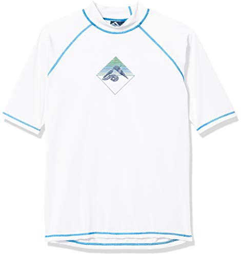 Kanu Surf Men's UPF 50+ Short Sleeve Sun Protective Rashguard Swim Shirt, Paradise White, XX-Large