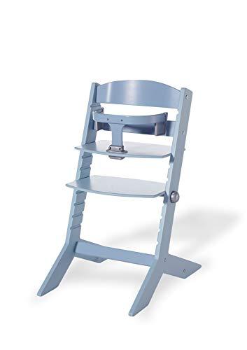 Geuther mitwachsender Hochstuhl Syt, Kinderhochstuhl, Treppenhochstuhl, Sitz- & Fußbrett verstellbar, Babyliege separat erhältlich, TÜV-geprüft, Holz, blau