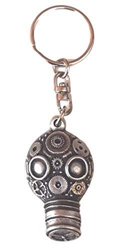 Emblems-gifts Dampf Punk Gasmaske Handgefertigt aus Englisch Zinn Schlüsselanhänger (KR1478) + 59mm Knöpfe Abzeichen