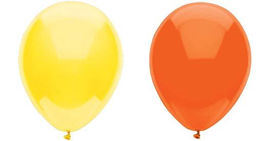INERRA Globos - Paquete de 50 Mezclado (25 X Naranja & 25 X Amarillo) Látex 10