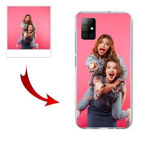 Funda Samsung Galaxy A51 Carcasa Personalizada con Foto o Texto Funda de Gel TPU con los Bordes Transparentes (No Compatible con A51 5G)