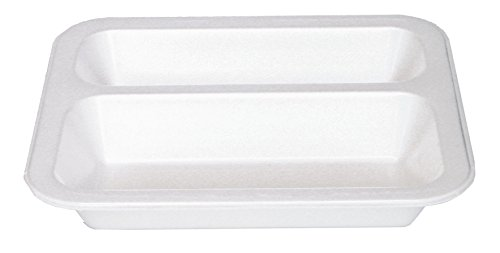 500 Siegelschale • 605 • 2-geteilt • weiß • ca.800 ml • 247 x 212 x 40 mm • Thermo-Siegelschale • mit Siegelgerät luft– und feuchtigkeitsdicht verschließbar • Menüschalen • mikrowellengeeignet