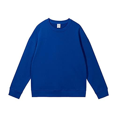 dagui suéter de Cuello Redondo de Color Puro suéter Suelto de otoño Azul Diamante 3XL