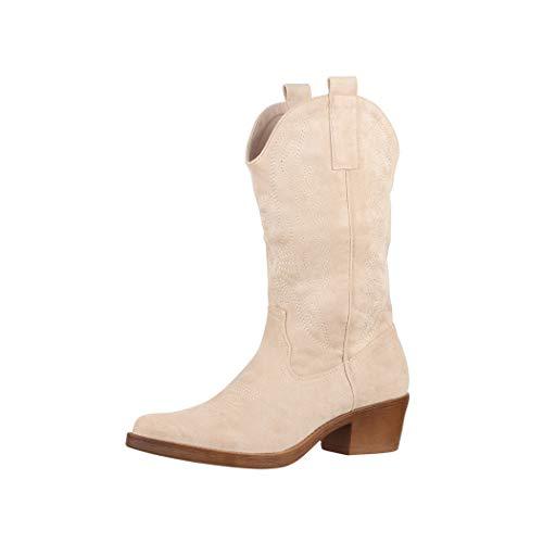 Elara Damen Cowboy Stiefel Biker Boots Chunkyrayan 301-A32S Beige-39