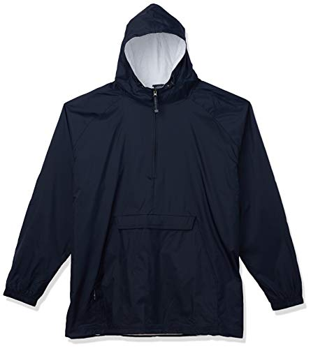 Charles River Apparel unisex adult & Water-resistant Pullover Rain Jacket (Reg/Ext Sizes) Windbreaker, Navy, 4X-Large US