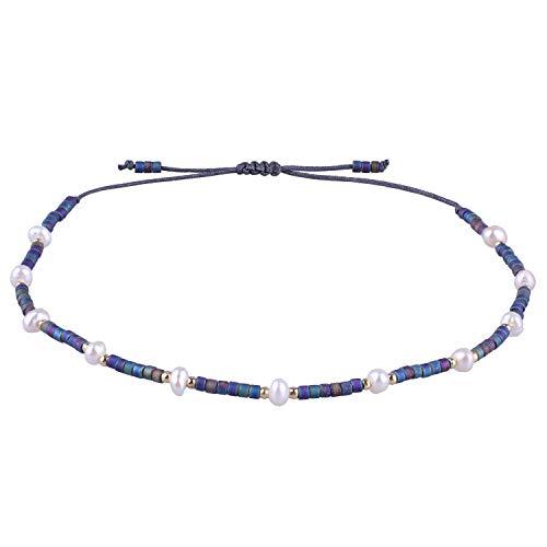 KELITCH Cáscara Perla Rebordeado Amistad Esposas Hecho A Mano Envolver Boho Encanto Brazalete (Oscuro Azul R)