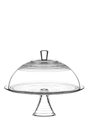 LAV Derin pantalla para tartas plato bandeja de cristal cristalería con tamaño grande tapa de cristal