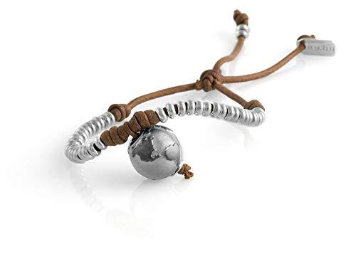 Nubu Pulsera de plata 925 con diamante y cordón colgante | Mujer y Hombre | Pulsera de viaje artesanal | Hecho a mano en Italia Tierra de Siena