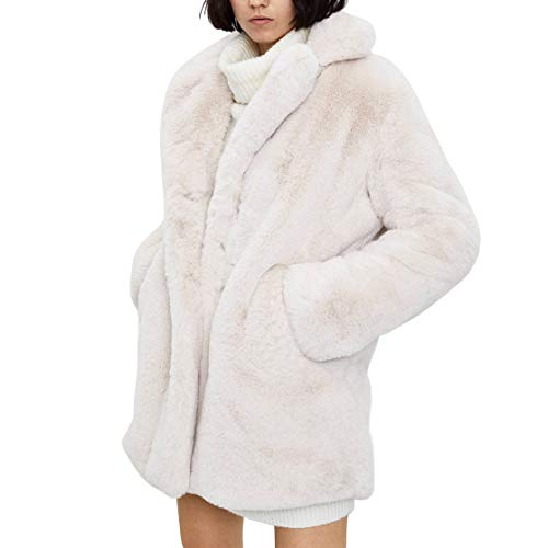 Germinate Kaninchen Pelz Mantel Damen Winter Mode Weiß Strickjacke Jacken Pelzmantel Trench Coat Oversize Grosse Grössen (Beige, Large)