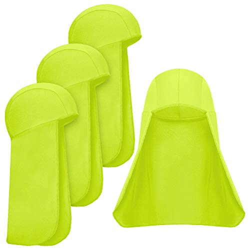 4 Pieces Hard Hat Neck Shade Sun Protector Shade Cap Elastic Cooling Skull Cap (Fluorescent Yellow)
