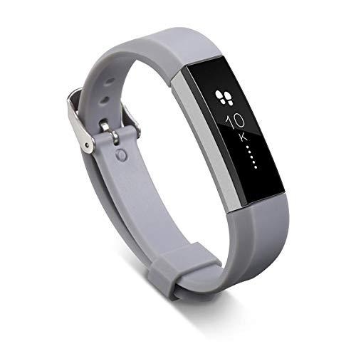 MyFitbands - Cinturino di ricambio per Fitbit Alta con fibbia liscia e chiusura in metallo, Grey, Taglia unica