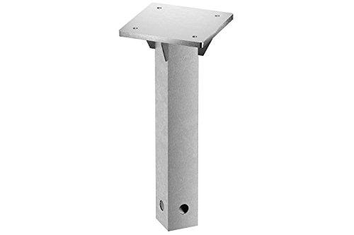 Schneider Universal-Bodenplatte Bodenträger zum Einbetonieren für Rhodos Eco Serie, Silbergrau, Stahl verzinkt, 16 x 16 x 40 cm