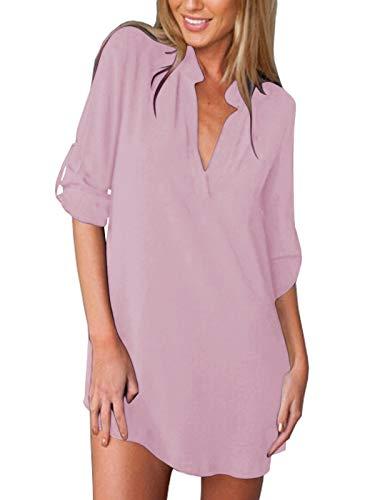 ZANZEA Damen V-Ausschnitt Langarm Bluse Lose Shirts Tops Oversize Oberteil Longblusen Rosa 36