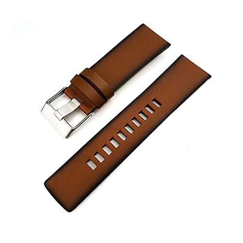 YANYAN MAYALI Cinturón de Reloj de Reloj de Cuero Genuino de 24 mm de Cuero de Becerro con Ajuste para DZ DZ4343 DZ4383 Strap de Moda de Estilo Antiguo Pulseras de brazaletes Hombre + Herramientas