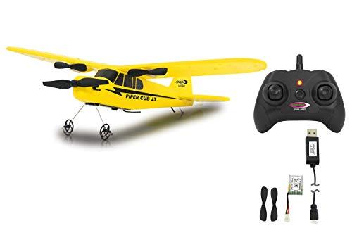 Jamara Piper J3-Cub Flugzeug 2CH Gyro 2,4G – RTF, Einsteigertauglich, Starke voll proportional Motoren, Lange Flugzeit durch Schnellwechsel-LiPo-Akku, Sehr Gute Selbstflugeigenschaften