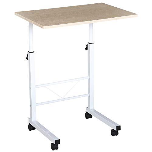 HOMCOM Mesa de Ordenador Escritorio de Computadora para Hogar Oficina Altura Ajustable Mesa Compacta con Ruedas 60x40x68-78cm Color Blanco