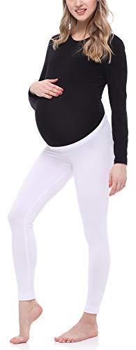 Be Mammy Leggins Premamá Largos Embarazo Lactancia BE20-253(Blanco, S)