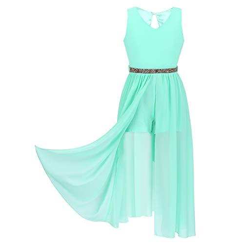 iiniim Kids Big Girls High-Neck Maxi Romper Dress Junior Bridesmaid Wedding Flower Dress Party Evening Long Gown Mint_Green V Neck 10