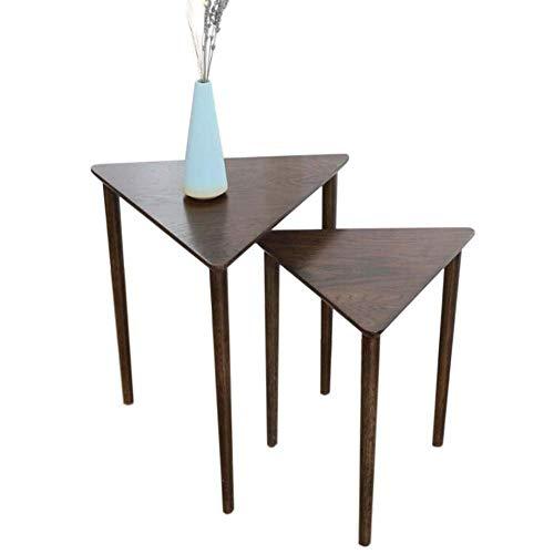 Mesa de cama, Mesas de café de anidación, mesa lateral del triángulo, conjunto de 2 mesas del extremo, para sala de estar, mesas laterales de apilamiento, montaje fácil Mesa de centro Color: Madera, T