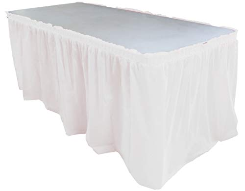 Exquisite Solid Color 14 Ft. Plastic Tablecloth Skirt, Disposable Plastic Tableskirts - White - 6 Count
