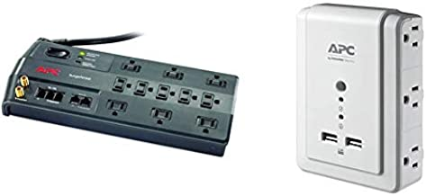 APC Surge Protector, 11 Outlet Surge Protector Power Strip Black & Wall Outlet Plug Extender, Surge Protector with USB Ports, P6WU2, (6) AC Multi Plug Outlet, 1080 Joule Surge Protection White