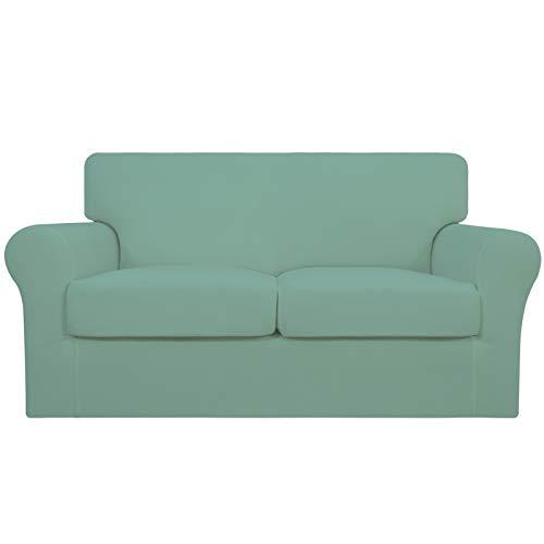 Easy-Going 3 piezas de funda elástica suave para sofá para perros – Funda de sofá lavable para 2 cojines separados – Protector de muebles elástico para mascotas, niños (cian)
